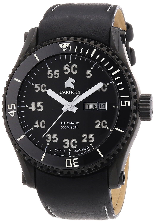 Carucci Watches Tarent CA2196BK-WH - Reloj analógico automático para Hombre, Correa de Cuero Color Negro