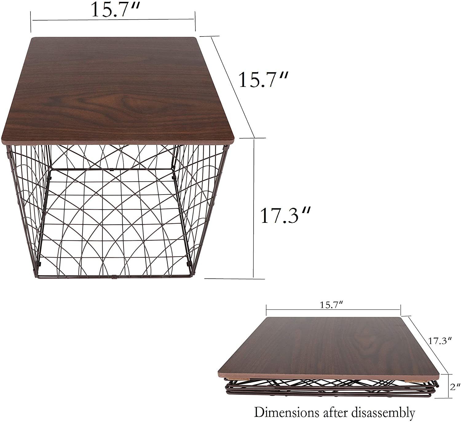 is Suitable for Home and Office as Coffee Table or Storage which has Large Storage Capacity Aurynns Metal Detachable Tea Table