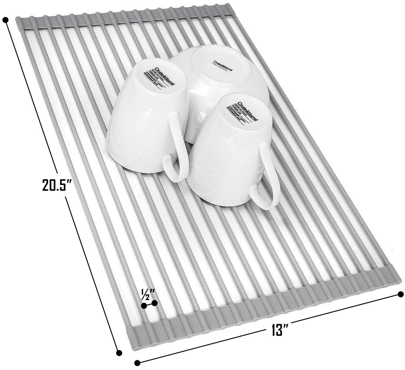 Sorbus DR-RACKRU Roll-Up Dish Drying Rack Warm Gray