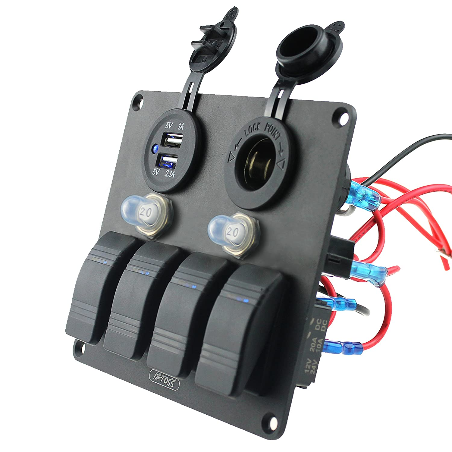 Iztoss 4 Gang Aluminium 3pin Rocker Toggle Switch Panel With Wire Wiring Diagram Also Automotive Waterproof Circuit Breaker Power Charger Socket