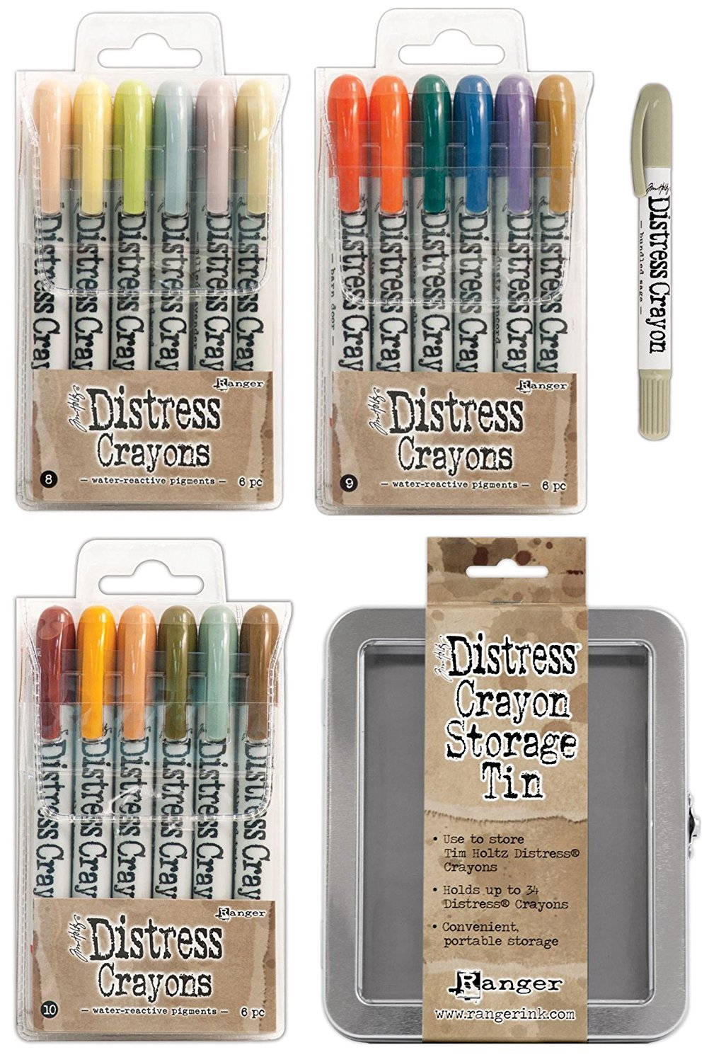 Tim Holtz Distress Crayon Kits 8, 9 and 10 with Storage Tin and Bundled Sage Crayon by Tim Holtz