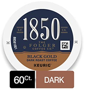 1850 Black Gold Dark Roast Coffee, K Cups for Keurig Makers, 10 Count, Pack of 6