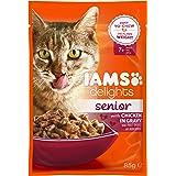 Iams Delights Senior Nassfutter (für ältere Katzen ab 7 Jahre mit Viel Huhn in Sauce)