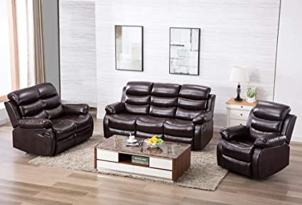 Amazoncom Harperbright Designs Pu Leather Sectional Reclining