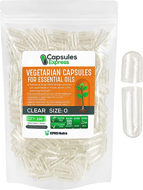 XPRS Nutra Size 0 Empty Capsules - Clear Veggie Capsules for Essential Oils - Capsules Express Empty Vegetable Capsules for Essential Oils - DIY Oil Filling Works with Most Essential Oils (100)