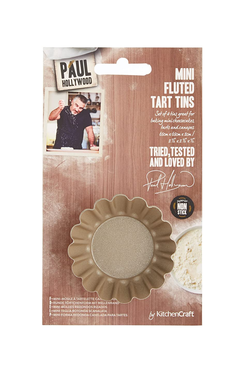 Amazon.com: Paul Hollywood By Kitchencraft Non-stick Mini Fluted Tart Tins, 6.5cm - Set Of: Kitchen & Dining