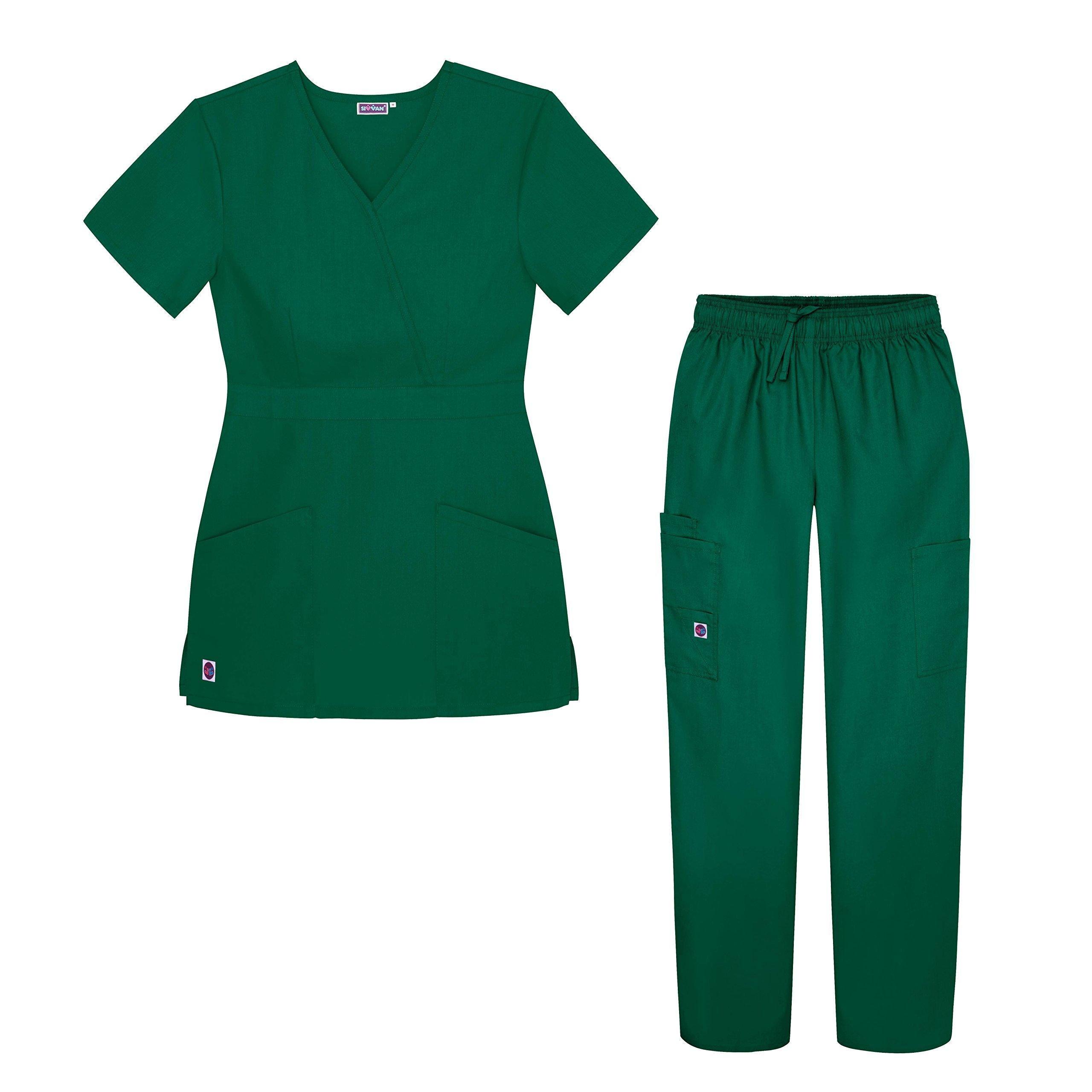 Sivvan Women's Scrub Set - Multi Pocket Cargo Pants & Stylish Mock Wrap Top - S8401 - HGR - M