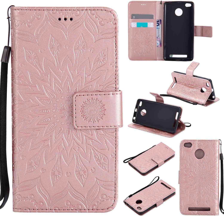 tinyue® Para Xiaomi Redmi 3 / Redmi3 Pro Funda, Cubierta de Billetera de Cuero PU Tapa abatible Funda, Hebilla magnética, Ranura Tarjeta Diseño, Serie de Flores de Sol, Rosa Oro
