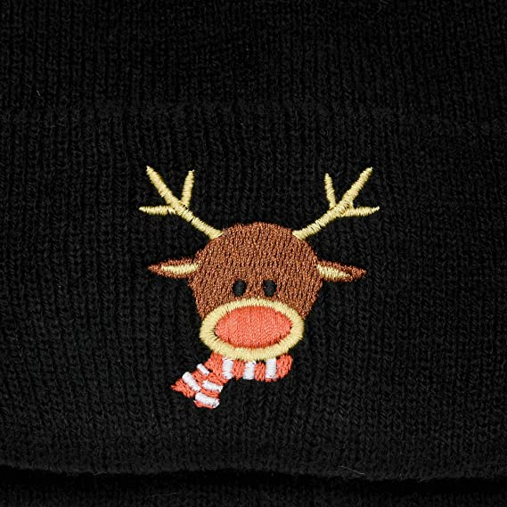 9b84ed98d DALIX Rudolph Beanie Christmas Holiday Winter Stocking Hat in Black ...