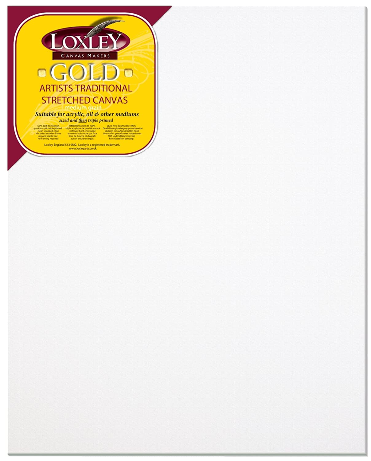 Loxley Gold 30 x 24-inch 76 x 61 cm 18 mm 1-Piece Primed Cotton Traditional Depth Stretched Artist Canvas Primed LCM-3024