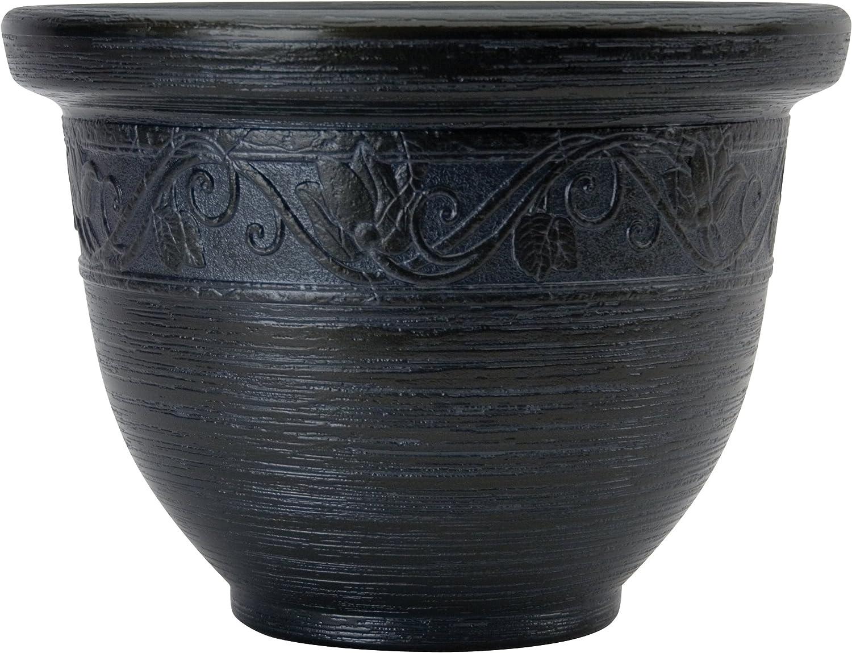 Listo 14-Inch Glaze Resin Pottery, Black Pearl