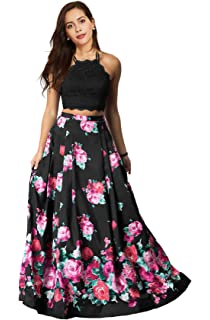 1a9bb045d89 Lily Wedding Womens Floral 2 Piece Satin Prom Dresses 2019 Long Halter Lace  Evening Ball Gown