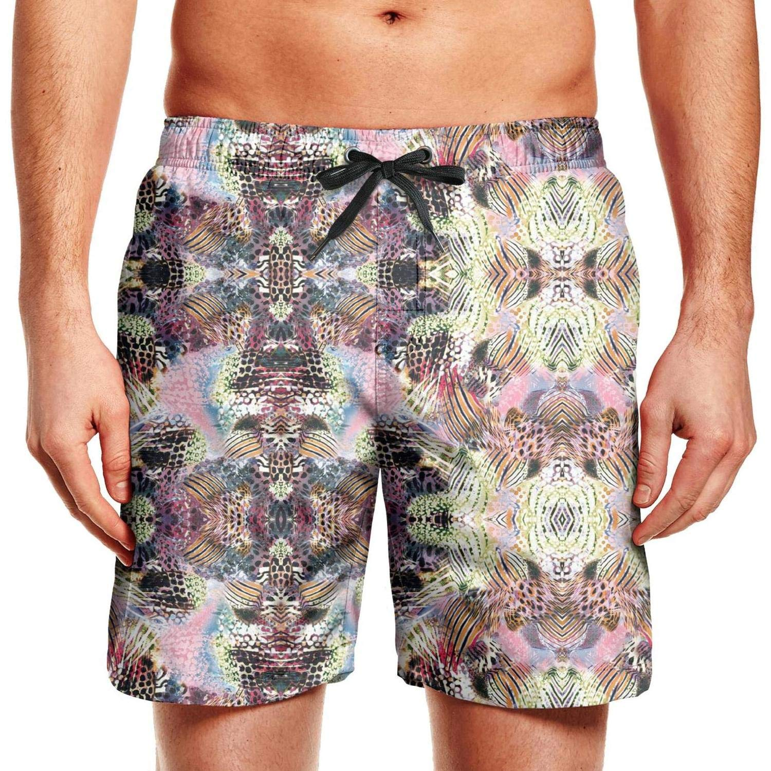 KIENENG Leopard Cheetah Print Ink Black Yellow Mens Beach Shorts Running Elastic Board Shorts