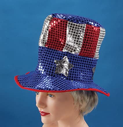 a381b99a296c Image Unavailable. Image not available for. Color: Loftus International USA  Sequin Uncle Sam Top Hat ...