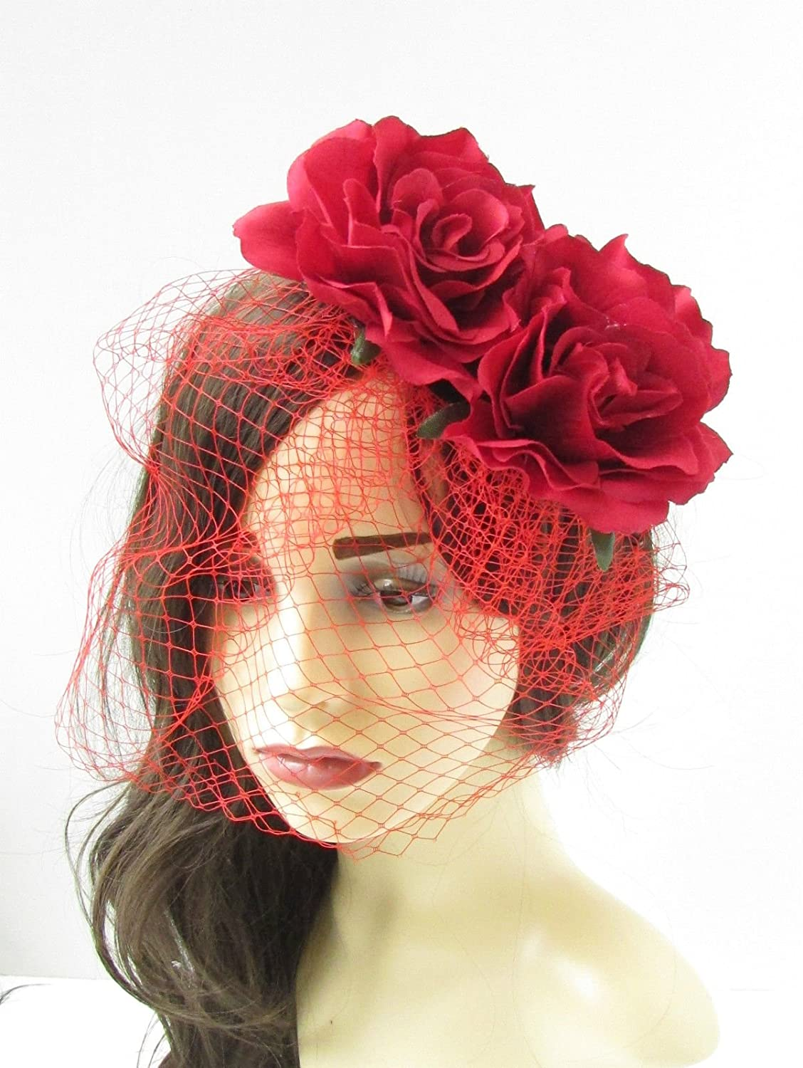 41d8e7fa975 Red Rose Flower Birdcage Veil Fascinator Vintage Headpiece 1950s Hair Clip  81  EXCLUSIVELY SOLD BY STARCROSSED BEAUTY   Amazon.co.uk  Beauty
