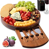 CTFT Cheese Board Set, Charcuterie Boards Acacia Round Platter Serving Tray Charcuttery Meat Platter With Knife Set And…