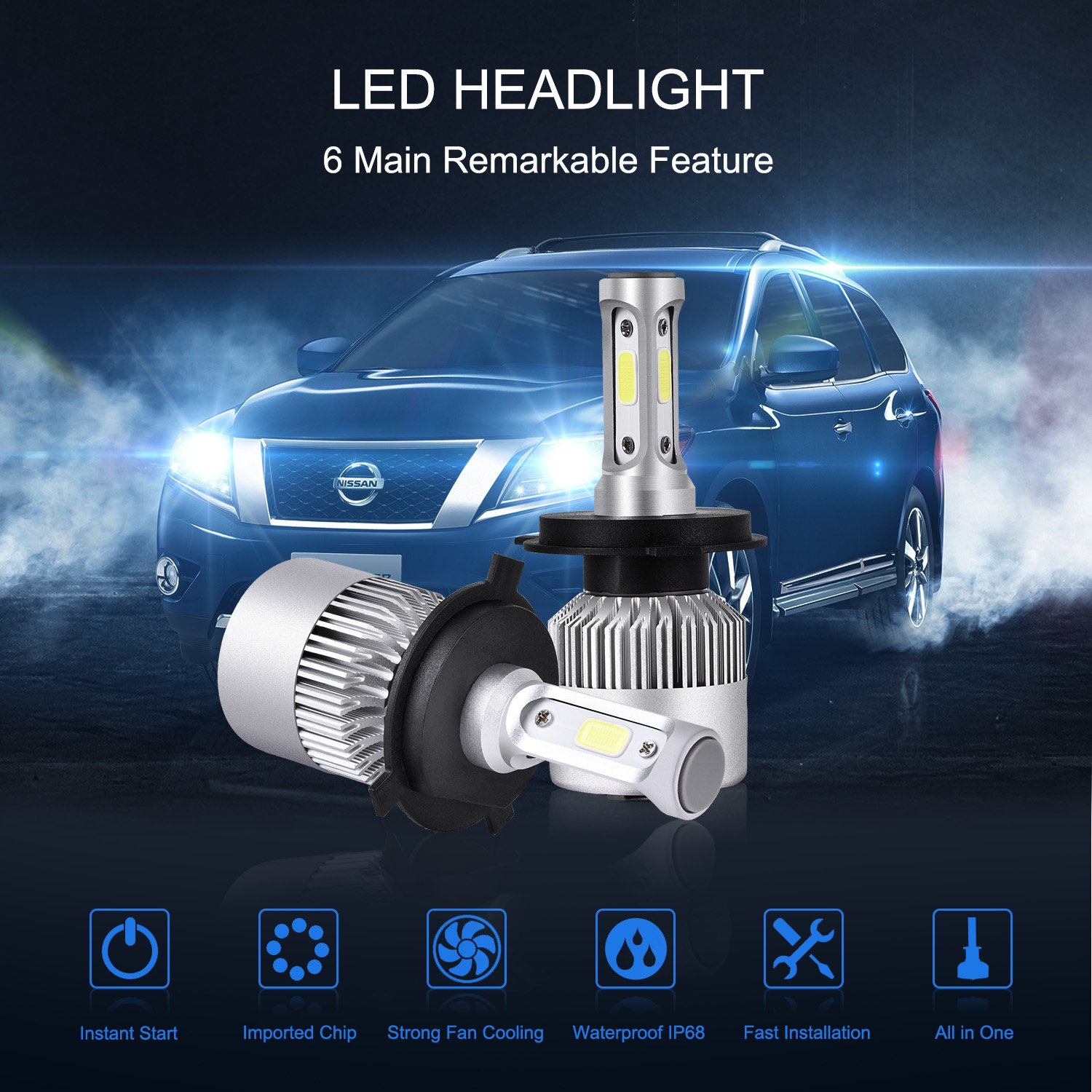 Catinbow H4 9003 Hb2 Led Headlight Bulbs Hi Lo Beam Exciting Scout Crafts 1 Or 2 Headlamp 7200lm Super Bright Cob Conversion Kit Plug Play Automotive