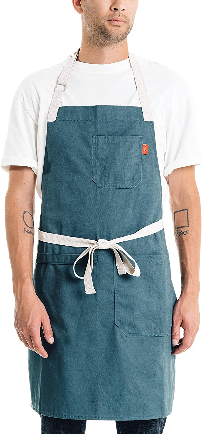 Caldo Daily Cotton Kitchen Apron for Cooking- Mens and Womens Professional Chef or Server Bib Apron - Adjustable Straps with Pockets and Towel Loop (Spruce)