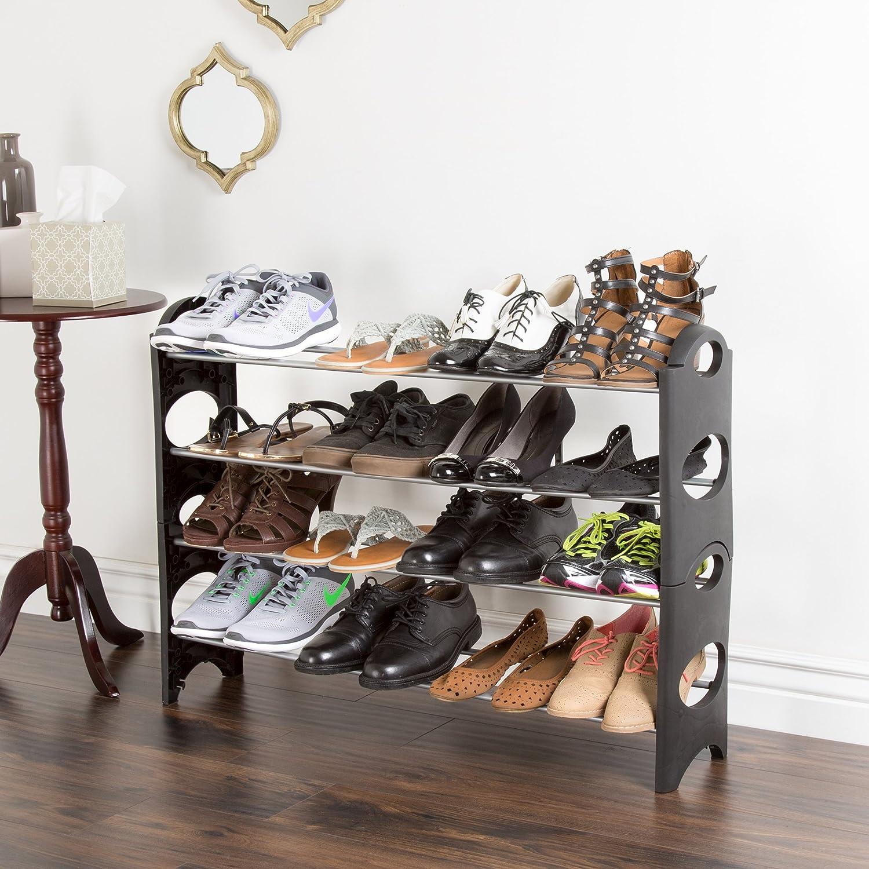Everyday Home Black 4 Tier Stackable 16 Pair Shoe Rack
