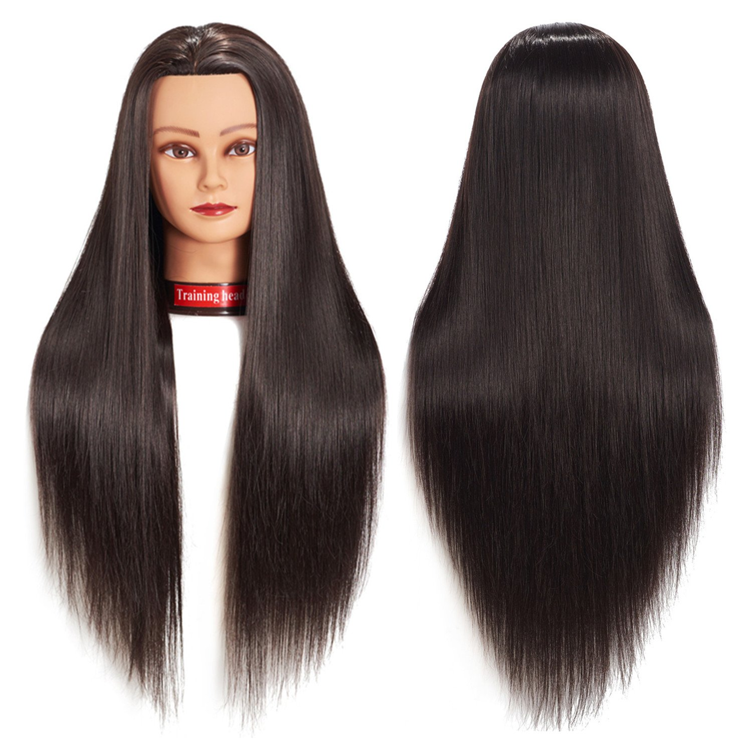Training Head 26''-28'' Mannequin Head Hair Styling Manikin Cosmetology Doll Head Synthetic Fiber Hair Hairdressing Training Model Free Clamp (1813LB0220)