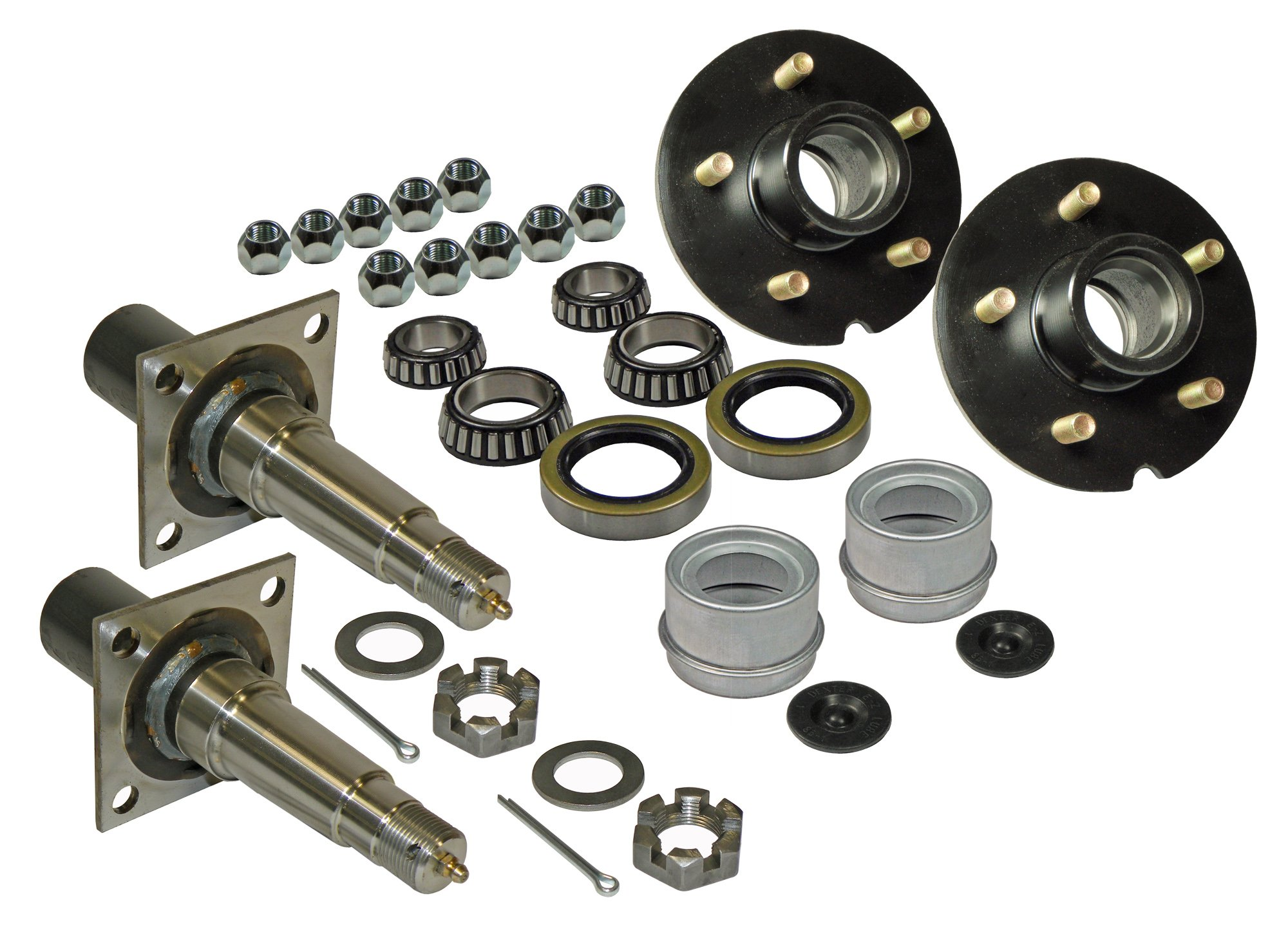 Rigid Hitch Pair of 5-Bolt on 4-1/2 Inch Hub Assembly (AKRD-3500545F) Includes (2) Flanged, 1-3/8 Inch to 1-1/16 Inch Tapered Spindles & Bearings by Rigid Hitch