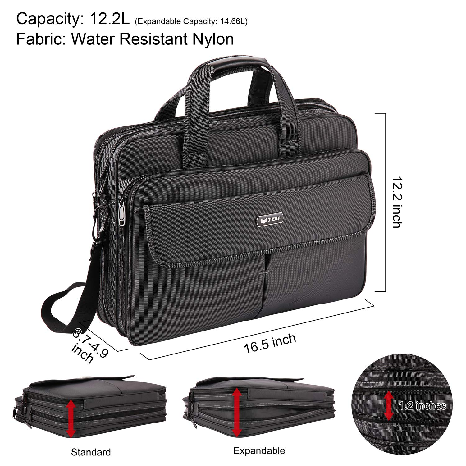 EYBF Laptop Bag 15.6 Inch, Expandable Travel Business Briefcase for Men & Women, Water Resistant Messenger Shoulder Bag with Organizer, Black by EYBF (Image #2)