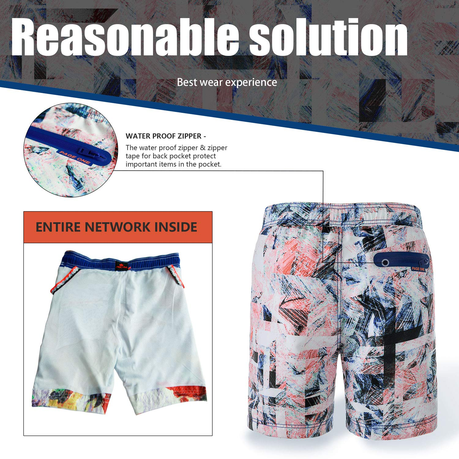 25-38 PAGE ONE Mens Beach Shorts Quick Dry Surfing Swim Trunks with Mesh Lining