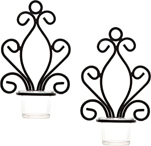 Hosley Set of 2 Iron Angel Wall Sconce Tea Light Candle Sconces 7.68 Inches High Ideal Gift for Spa Settings Aromatherapy Wedding LED Votive Candle Gardens Hand Made by Artisans O3