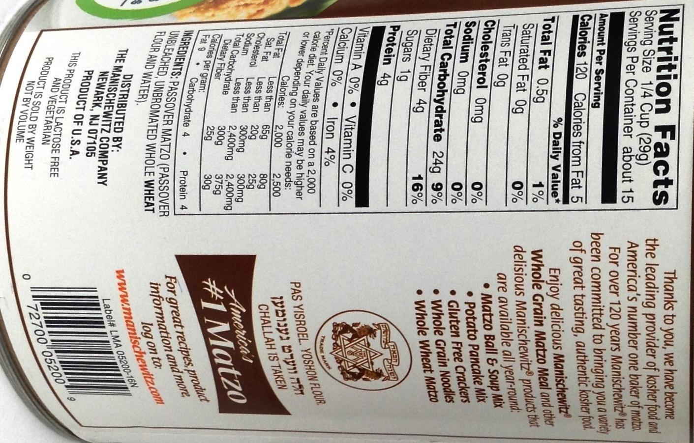 Manischewitz Whole Grain Matzo Meal Non GMO KFP 16 Oz. Pack Of 3.