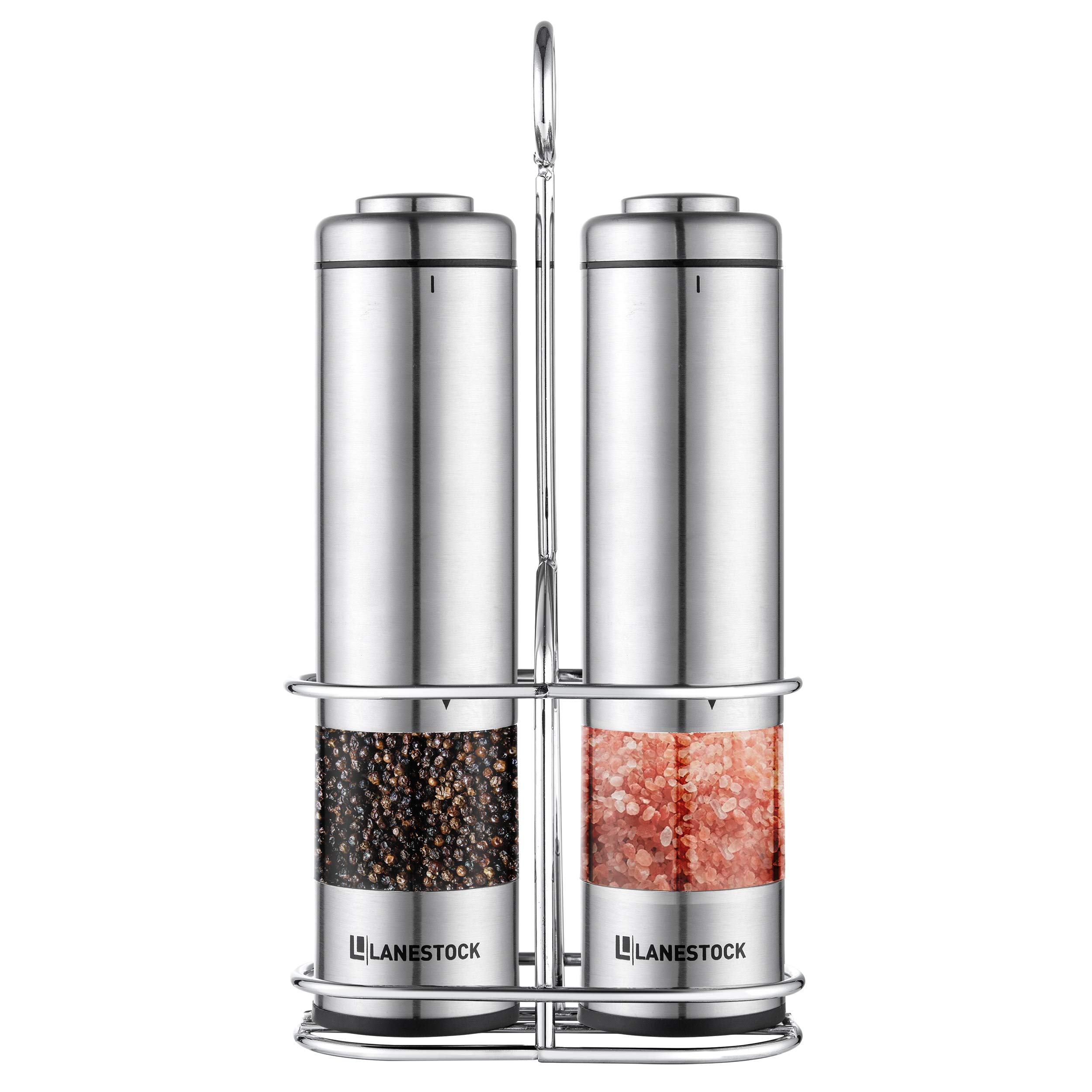 Electric Salt and pepper grinder by Lanestock - Combo set of battery operated stainless steel spice grinders with stand - LED light and adjustable knob on each mill - Powerful motor - long life-span by Lanestock