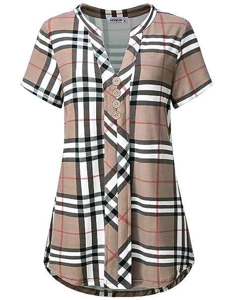 ed6bc882aa1 MOQIVGI Womens Notch Neck Short Sleeve Plaid Shirts Checkered Blouse ...