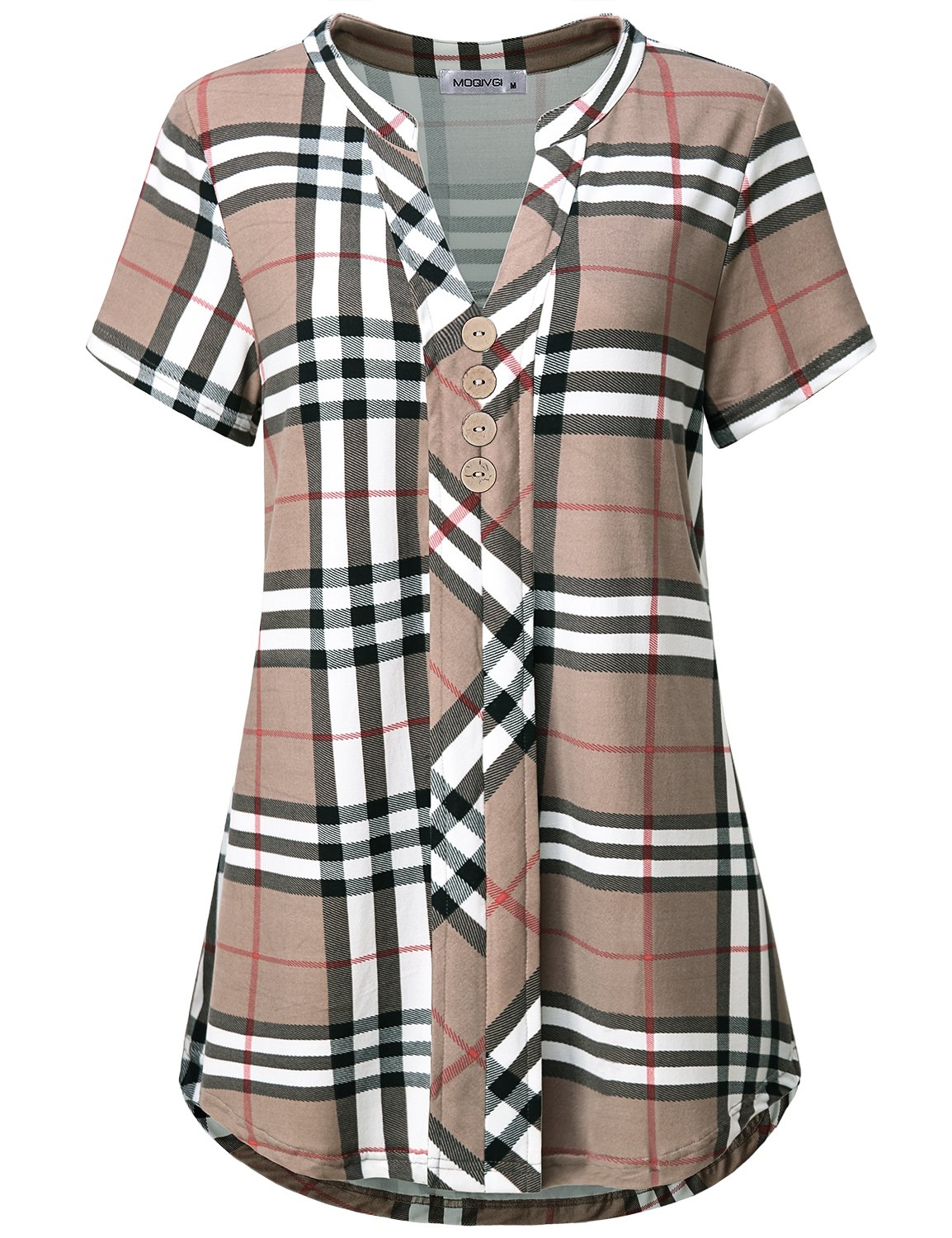 MOQIVGI Shirts for Women Casual,Trendy Plaid Pleated Flowy Color Block Curve Hem Tops Ladies Career Summer Dressy Office Work Blouses Buttons Henley Relaxed Fit Short Sleeve Tunics Apricot Medium