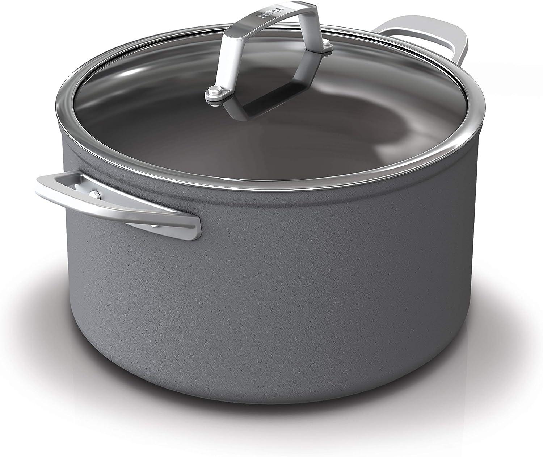 Ninja C30480 Foodi NeverStick Premium Hard-Anodized 8-Quart Stock Pot with Glass Lid, slate grey