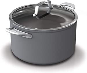 Ninja C30480 Foodi NeverStick Premium Hard-Anodized 8-Quart Stock Pot with Glass Lid, slate grey
