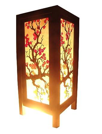 Thai Vintage Handmade Asian Oriental Japanese Sakura Flower Bedside Table  Light or Floor Wood Paper Lamp
