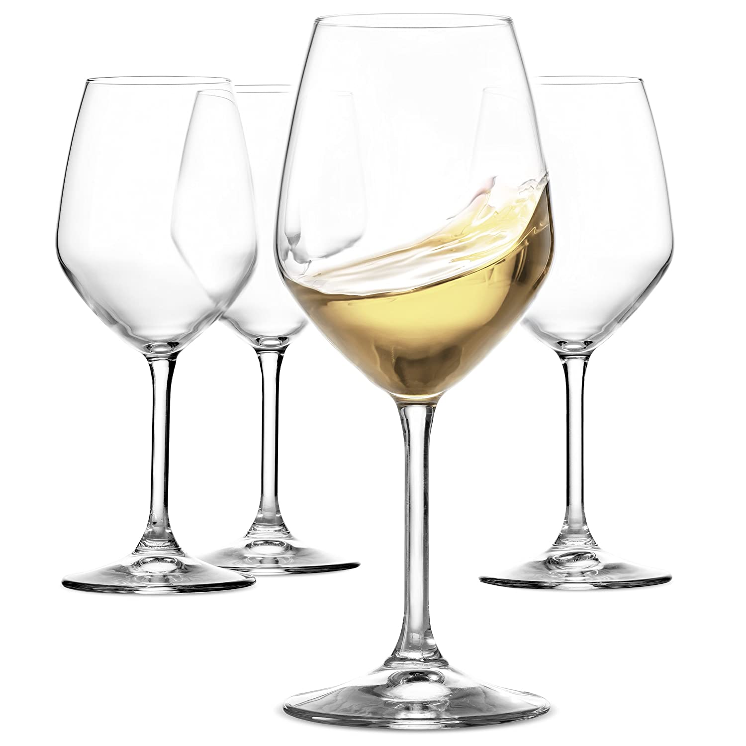 Paksh Novelty Italian White Wine Glasses - 15 Ounce - Lead Free - Shatter Resistant - Wine Glass Set of 4, Clear PN-W410