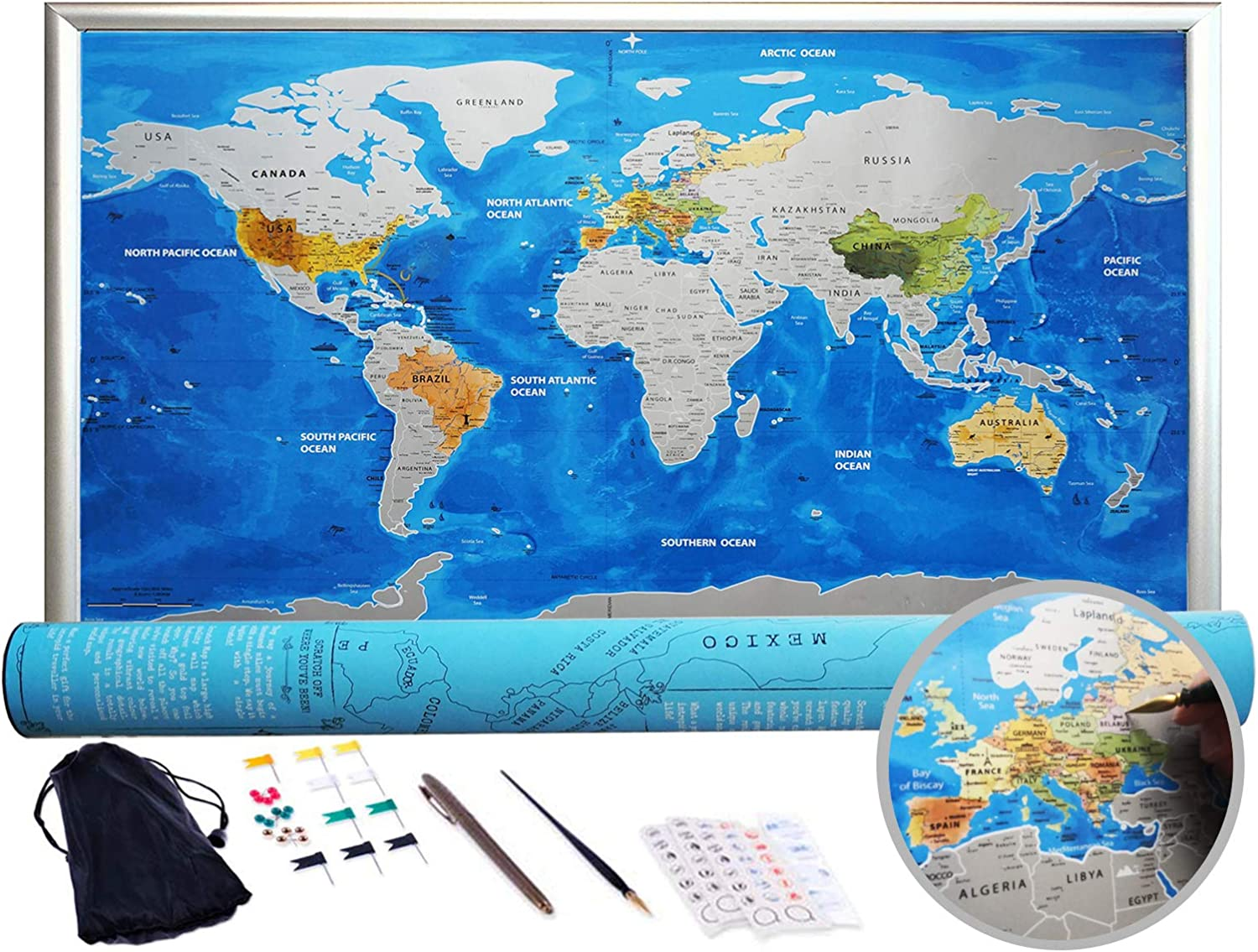Paper Traveling Scratch Map World Edition Convenient Marking Toys Gift NEW