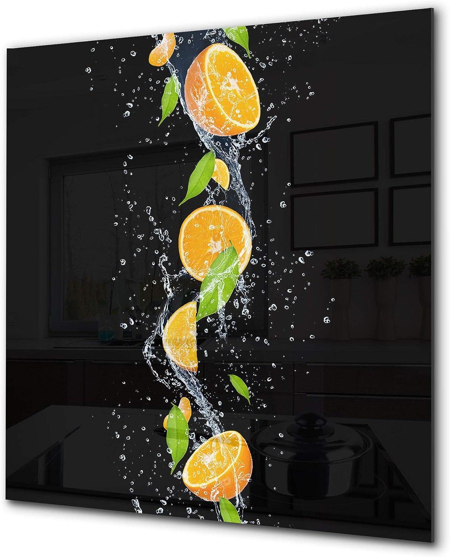 Fond en verre renforcé - Antiprojections en verre - Antiéclaboussures cuisine e salle de bain BS09 Série gouttes deau: Orange dans l'eau 3