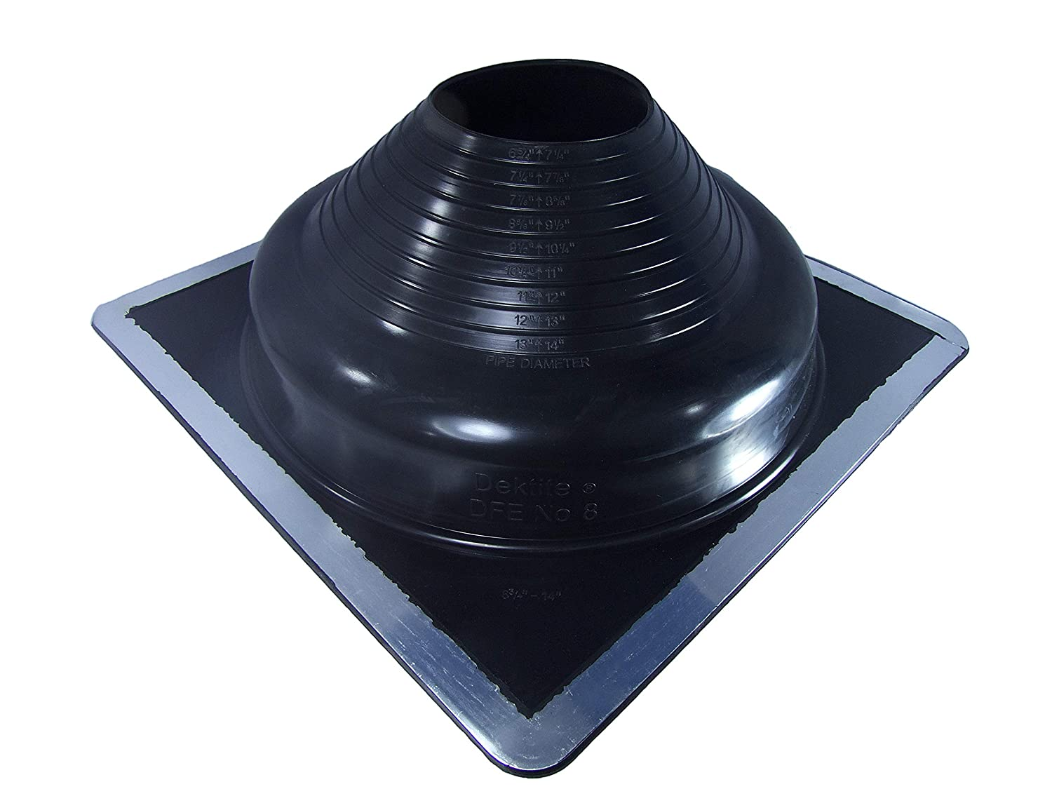 DEKTITE SQUARE PIPE FLASHING BOOT: #5 Black EPDM Pipe Flashing Dektite (OD pipe size 4ʺ to 8ʺ) ~ Roof Jack Pipe Boot is on-site adjustable ~ pipe flashing attaches easily with roofing screws ~ By Deks Dektite