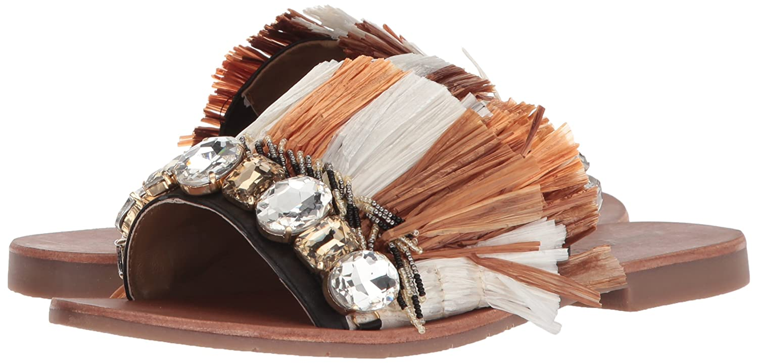 Kenneth Cole New York Women's Heron Fringe and Jewels Slide US|Beige/Multi Sandal B077QSCJHH 7 B(M) US|Beige/Multi Slide f88733