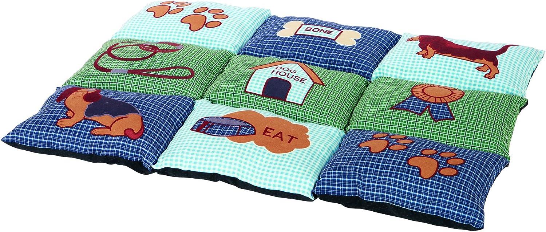Trixie Colchoneta para Perros Mascotas - Alfombra para Perros Manta para Mascotas Cálida Protección Patchwork 80×55cm Azul Verde