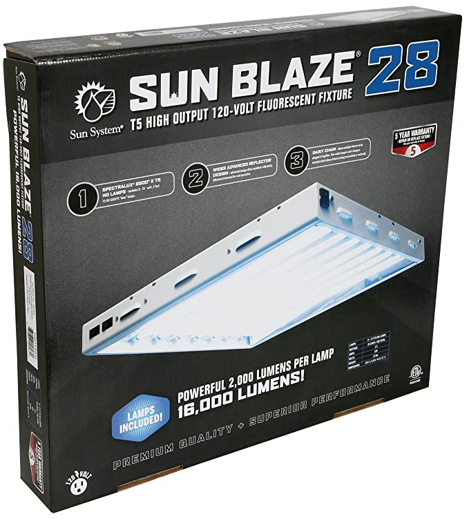 Com Sun Blaze T5 Fluorescent 2 Ft Fixture 8 Lamp 120v Indoor Grow Light For Hydroponic And Greenhouse Use Plant Growing