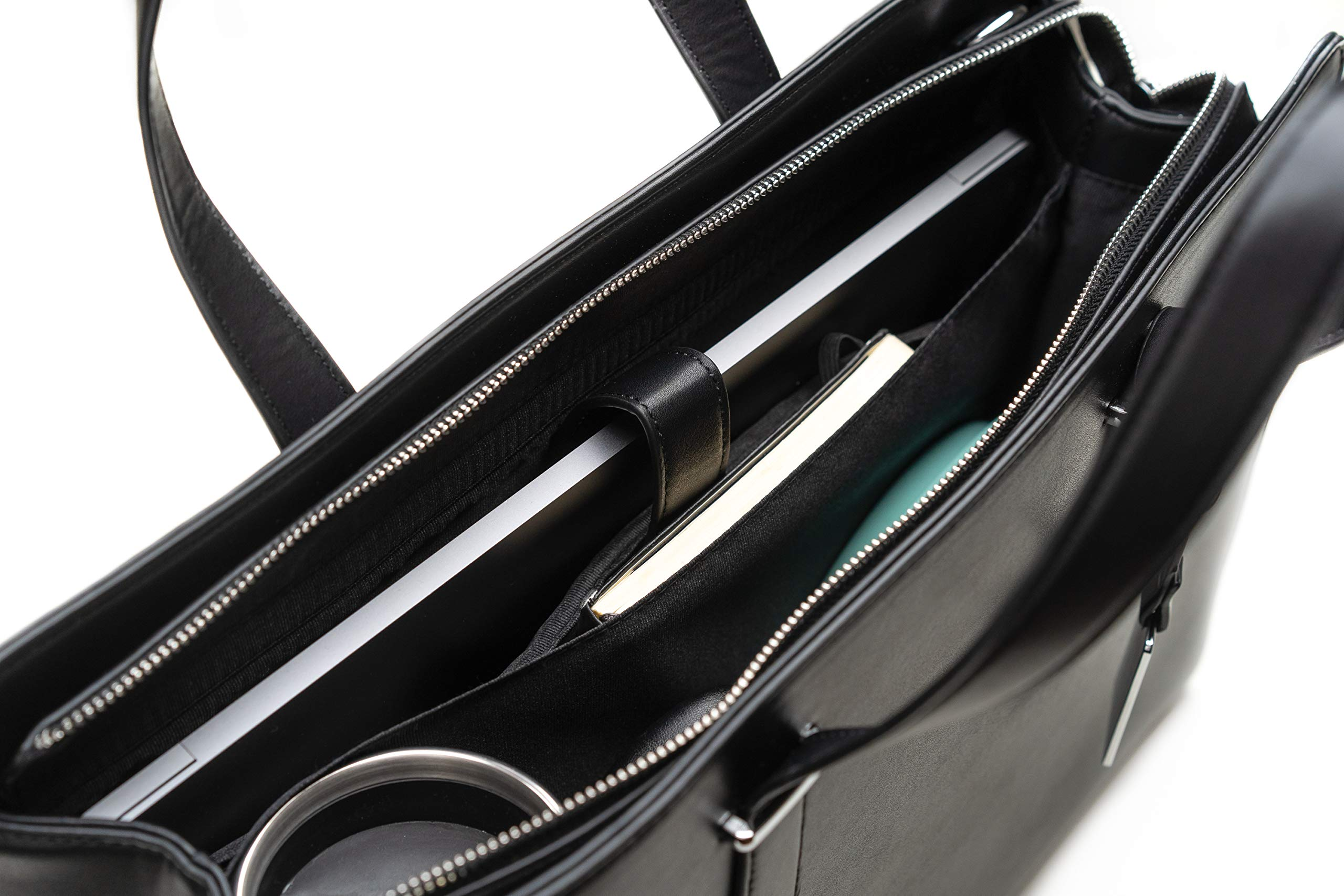 Computer Bag for Women - Ideal Laptop Tote Bag to Keep Your Business Documents, Laptop & Notebook Safe, Unique & Practical Laptop Accessories (Black) by BLONS California (Image #4)