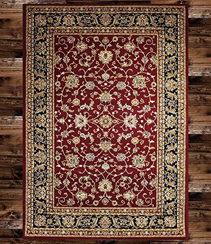 KILIM Boho Burgundy Floral Vintage Style Area Rug Clearance Soft and Durable Pile. Size Option
