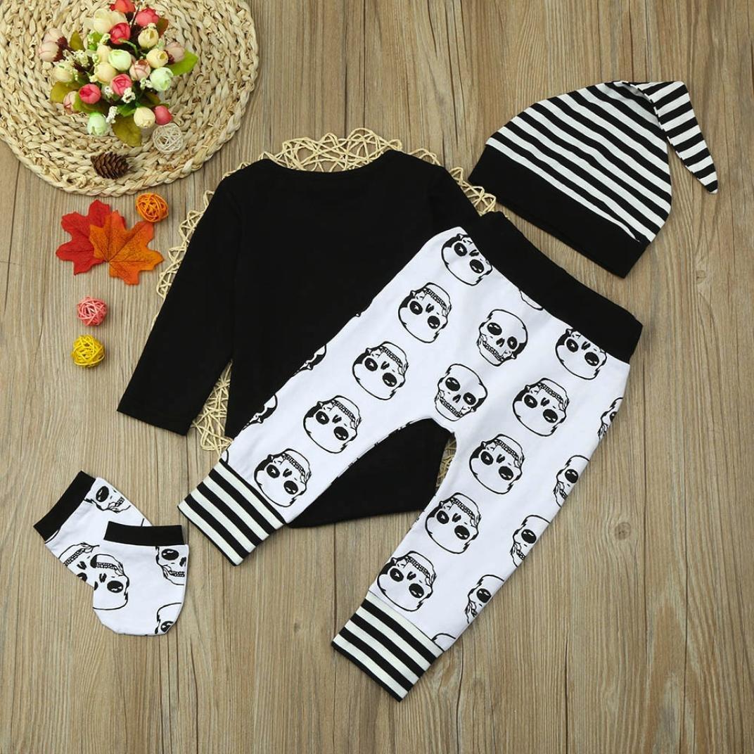 4pcs//Set Kids Infant Baby Boy Outfits Sweatshirt Skull Print Romper+Pants+Hat+Gloves