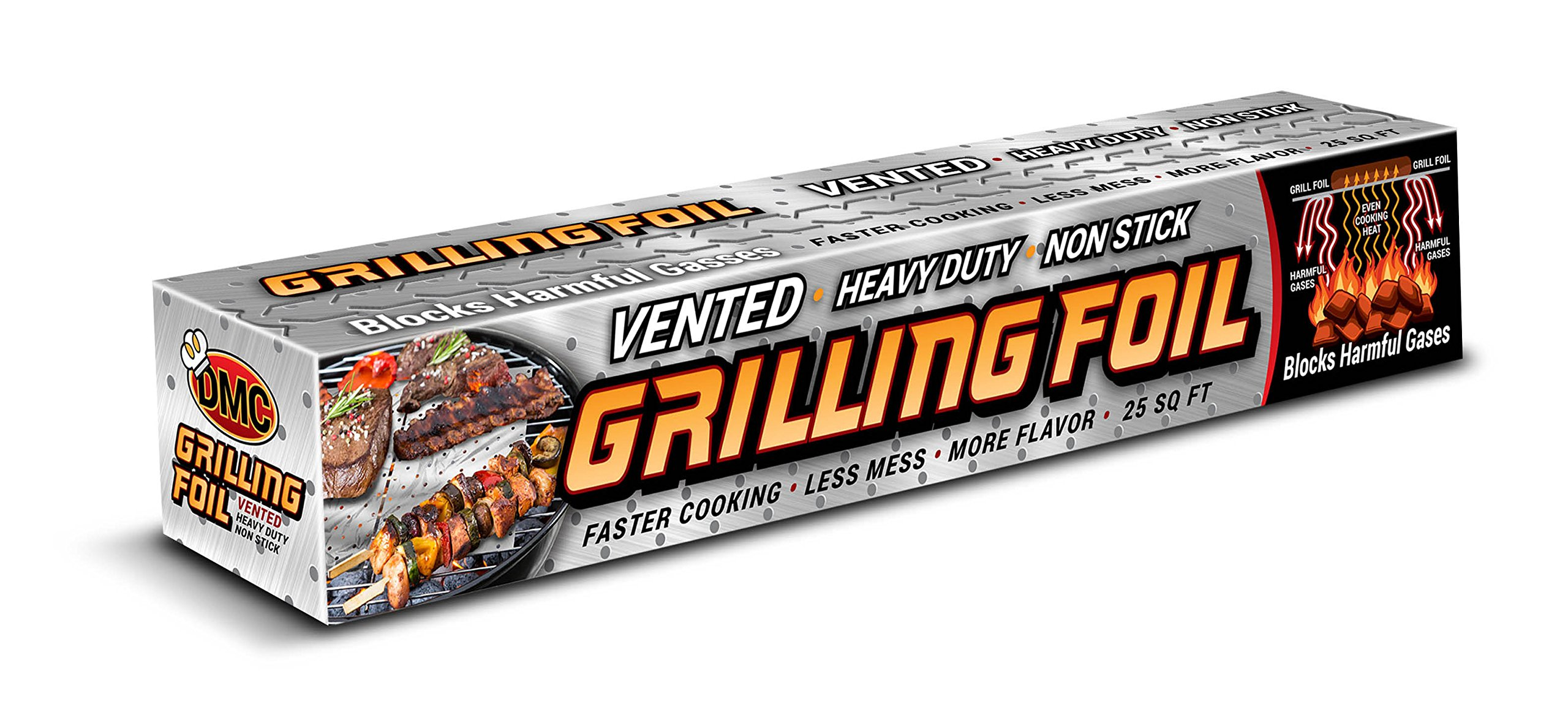 BBQ Grilling Accessories Heavy Duty Vented Holes Non Stick Aluminum Grilling Foil 25 SQFT by DMC Grilling Foil