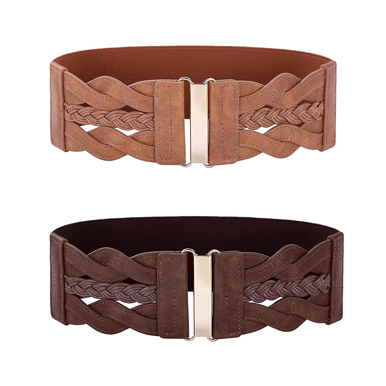 Brown and Coffee GRACE KARIN Women's Vintage Belt Retro Wide Elastic Stretch Belt(2 Pack)