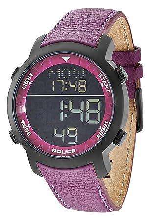 police men s digital watch black dial digital display and police men s digital watch black dial digital display and purple leather strap pl 12898jsb
