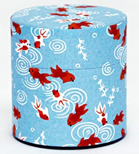 Washi Paper Tea Tin Canister: Wide 3.5oz (100g) Gold Fish (#14) by KOTODO, Japan