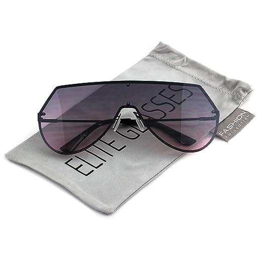 3095f647925 Elite Mens Womens Oversize Flat Top Aviator Retro Shield Oceanic Lens  Rimless Sunglasses (Black Purple